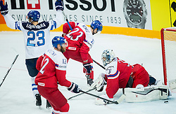 Ossi Louhivaara of Finland after Finland scored first goal against Ondrej Pavelec of Czech Republic during Ice Hockey match between Finland and Czech Republic at Quarterfinals of 2015 IIHF World Championship, on May 14, 2015 in O2 Arena, Prague, Czech Republic. Photo by Vid Ponikvar / Sportida