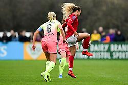 Ebony Salmon of Bristol City is challenged by Steph Houghton of Manchester City Women - Mandatory by-line: Ryan Hiscott/JMP - 24/11/2019 - FOOTBALL - Stoke Gifford Stadium - Bristol, England - Bristol City Women v Manchester City Women - Barclays FA Women's Super League