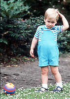 A young Prince William on his second Birthday, in the gardens of Kensington Palace, June 1984.