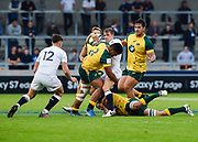 Australia hooker Jordan Uelese tackle England wing George Perkins during the World Rugby U20 Championship  match England U20 -V- Australia U20 at The AJ Bell Stadium, Salford, Greater Manchester, England on June  15  2016, (Steve Flynn/Image of Sport)