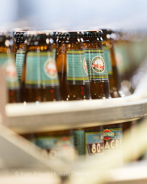 80-Acre Hoppy Wheat Beer bottles in production at Boulevard Brewing Company