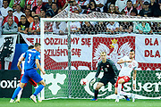 Lublin, Poland - 2017 June 16: Goalkeeper Jakub Wrabel from Poland U21 looks at the ball while Poland v Slovakia match during 2017 UEFA European Under-21 Championship at Lublin Arena on June 16, 2017 in Lublin, Poland.<br /> <br /> Mandatory credit:<br /> Photo by &copy; Adam Nurkiewicz / Mediasport<br /> <br /> Adam Nurkiewicz declares that he has no rights to the image of people at the photographs of his authorship.<br /> <br /> Picture also available in RAW (NEF) or TIFF format on special request.<br /> <br /> Any editorial, commercial or promotional use requires written permission from the author of image.