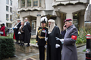 NICHOLAS HILLIARD, JOHN BARRADELL RECORDER, TOWN CLERK, DR. PETER KANE, CHAMBERLAIN, COMPTROLLER, , IAN DYSON, COMMISSIONER OF THE CITY OF LONDON POLICE,PAUL DOUBLE, CITY REMEMBRANCER,  Lord Mayor's show London. 11 November 2017.