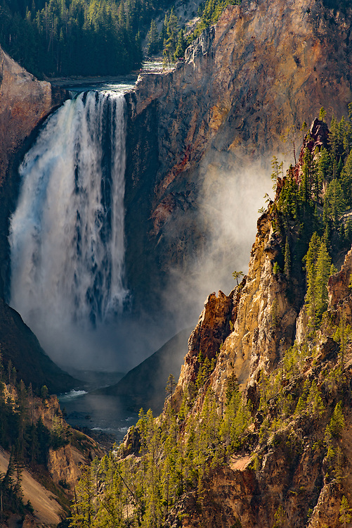 Portrait photo of Yellowstone Lower Falls from Artists Point