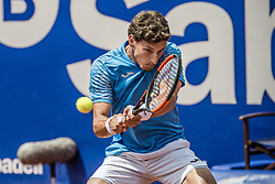 April 28, 2018 - Barcelona, Catalonia, Spain - Barcelona, Spain. 28 April, 2018: .PABLO CARRENO BUSTA (ESP) returns the ball to Stefanos Tsitsipas (GRE) in their semi-final of the 'Barcelona Open Banc Sabadell' 2018. Tsitsipas won 7:5, 6:3 (Credit Image: © Matthias Oesterle via ZUMA Wire)