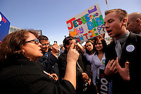Proposition 8 supporter Galina Andreyev of Sacramento, argues with George Cole of San Francisco outside the California Supreme Court in San Francisco where the justices were hearing arguments to overturn Proposition 8.