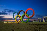 Olympic Rings before sunrise on Copacabana Beach, Rio de Janeiro, Brazil.