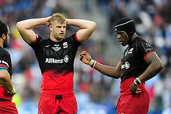 George Kruis and Maro Itoje of Saracens - Mandatory byline: Patrick Khachfe/JMP - 07966 386802 - 14/05/2016 - RUGBY UNION - Grand Stade de Lyon - Lyon, France - Saracens v Racing 92 - European Rugby Champions Cup Final.
