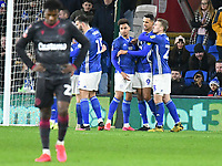 Football - 2019 / 2020 Emirates FA Cup - Fourth Round, Replay: Cardiff City vs. Reading<br /> <br /> Robert Glatzel of Cardiff celebrates scoring his team's second goal with Josh Murphy of Cardiff scorer of their 1st gaoal, at the Cardiff City Stadium.<br /> <br /> COLORSPORT/WINSTON BYNORTH