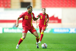 LLANELLI, WALES - Wednesday, August 15, 2012: Wales' Hal Robson-Kanu in action against Bosnia-Herzegovina during the international friendly match at Parc y Scarlets. (Pic by David Rawcliffe/Propaganda)
