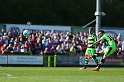 Forest Green Rovers Liam Noble(15) takes a free kick during the Vanarama National League Play Off second leg match between Forest Green Rovers and Dagenham and Redbridge at the New Lawn, Forest Green, United Kingdom on 7 May 2017. Photo by Shane Healey.