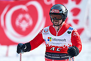 """Schladming, Austria - 2017 March 21: Bernhard Quereser from Austria (45) competes in Alpine Skiing Competition while Special Olympics World Winter Games Austria 2017 on the """"Sepp-Walcher-Downhill"""" (Slope 32) near the """"Tauernalm"""" in Rohrmoos on March 21, 2017 in Schladming, Austria.<br /> <br /> Mandatory credit:<br /> Photo by © Adam Nurkiewicz / Mediasport<br /> <br /> Adam Nurkiewicz declares that he has no rights to the image of people at the photographs of his authorship.<br /> <br /> Picture also available in RAW (NEF) or TIFF format on special request.<br /> <br /> Any editorial, commercial or promotional use requires written permission from the author of image.<br /> <br /> Image can be used in the press when the method of use and the signature does not hurt people on the picture."""