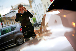 UK ENGLAND LONDON 1JUN10 - Customers admire the new Tesla Roadster Electric supercar on display at the Tesla showroom in Knightsbridge, Kensington, London...jre/Photo by Jiri Rezac..© Jiri Rezac 2010