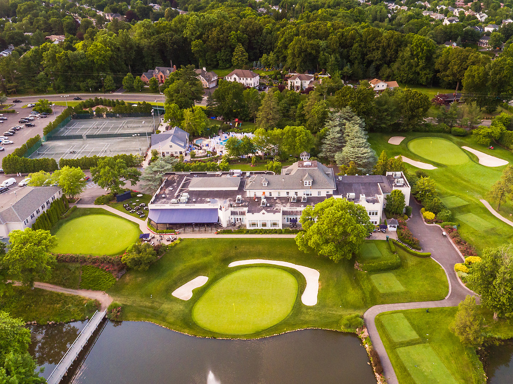 Aerial view of the clubhouse at Preakness Hills Country Club in Wayne, NJ