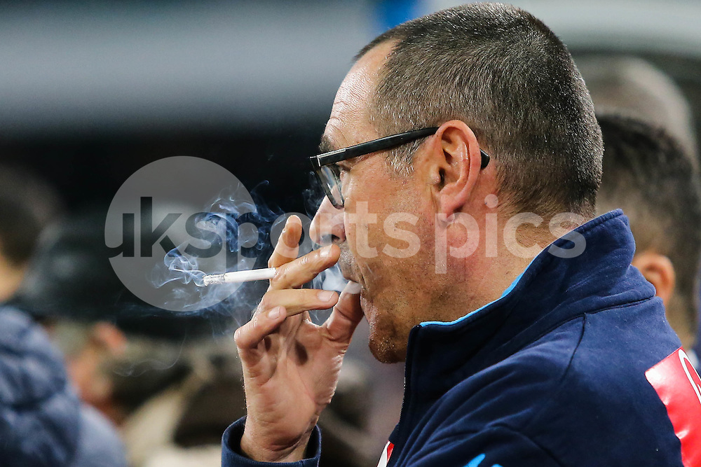 Maurizio Sarri manager of Napoli smokes during the Serie A TIM match between Napoli and AC Milan at Stadio San Paolo, Naples, Italy on 22 February 2016. Photo by Alfredo Panico.