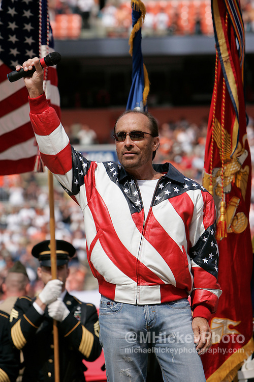 Lee Greenwood sings the National Anthem at Browns Stadium in Cleveland, Ohio. Photo by Michael Hickey