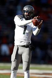 December 4, 2010; Corvallis, OR, USA;  Oregon Ducks quarterback Darron Thomas (1) warms up before the game against the Oregon State Beavers at Reser Stadium.  Oregon defeated Oregon State 37-20.