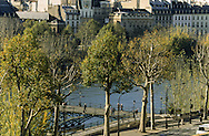 France. Paris. elevated view. The Seine river and the arts bridge, view from St Germain L'auxerrois church (1st)