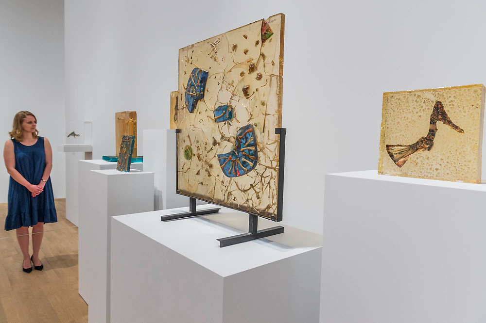 Moon Drops, 1967, and other ceramincs with chicken bones - Princess Fahrelnissa Zeid: the UK's first retrospective of a pioneering artist best known for her large-scale colourful canvases, fusing European approaches to abstract art with Byzantine, Islamic and Persian influences. The exhibition is at Tate Modern from 13 June – 8 October 2017.