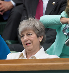 July 13, 2019 - London, England - LONDON, ENGLAND - JULY 13:  Theresa May  attend the Women's Singles Final of the Wimbledon Tennis Championships at All England Lawn Tennis and Croquet Club on July 13, 2019 in London, England...People:  Theresa May. (Credit Image: © SMG via ZUMA Wire)