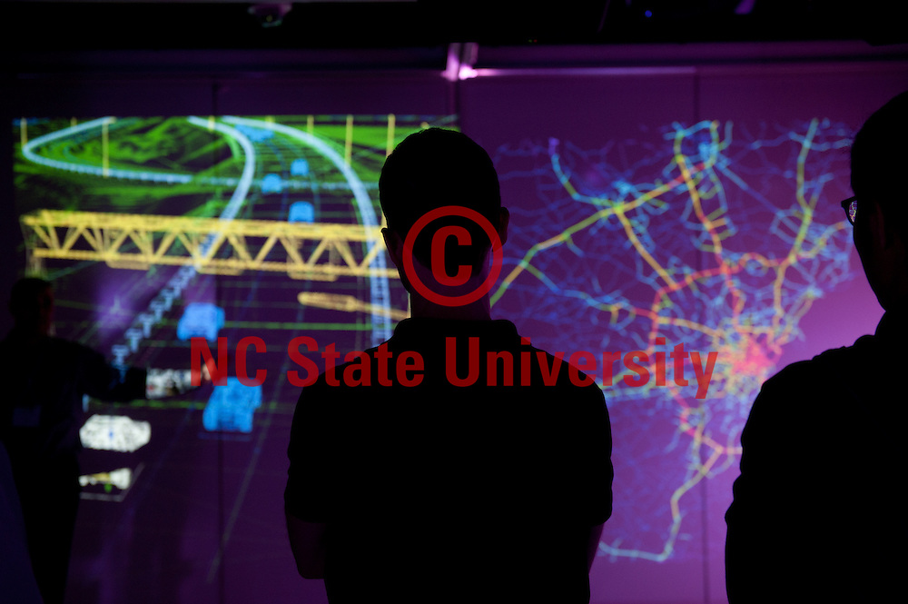 Transportation engineers use the teaching and visualization lab at the Hunt Library. Photo by Marc Hall