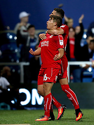 Jordan Stewart of Swindon Town celebrates scoring an equalising goal against Queens Park Rangers - Mandatory by-line: Robbie Stephenson/JMP - 10/08/2016 - FOOTBALL - Loftus Road - London, England - Queens Park Rangers v Swindon Town - EFL League Cup