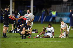 Players from both sides react as the final whistle sounds - Mandatory byline: Patrick Khachfe/JMP - 07966 386802 - 06/12/2019 - RUGBY UNION - The Recreation Ground - Bath, England - Bath Rugby v Clermont Auvergne - Heineken Champions Cup
