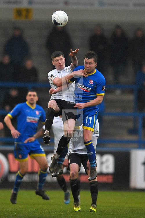 TELFORD COPYRIGHT MIKE SHERIDAN Matt Stenson of Telford (on loan from Solihull Moors) battles for a header withBobby Johnson during the Vanarama Conference North fixture between AFC Telford United and Alfreton Town at the New Bucks Head Stadium on Thursday, December 26, 2019.<br /> <br /> Picture credit: Mike Sheridan/Ultrapress<br /> <br /> MS201920-036