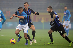 December 26, 2018 - Milan, Milan, Italy - Allan #5 of SSC Napoli competes for the ball with Ivan Perisic #44 of FC Internazionale Milano during the serie A match between FC Internazionale and SSC Napoli at Stadio Giuseppe Meazza on December 26, 2018 in Milan, Italy. (Credit Image: © Giuseppe Cottini/NurPhoto via ZUMA Press)