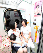 TAIPEI, CHINA - JULY 31: (CHINA OUT) <br /> <br /> Special Trains For New Mothers Put Into Operation <br /> <br />  A special train for nursing mothers is seen on July 31, 2014 in Taipei, Taiwan of China. To ensure a better environment for mothers to nurse their babies in public, many trains in Taiwan has set up separate rooms for nursing mothers to breast-feed. <br /> ©Exclusivepix
