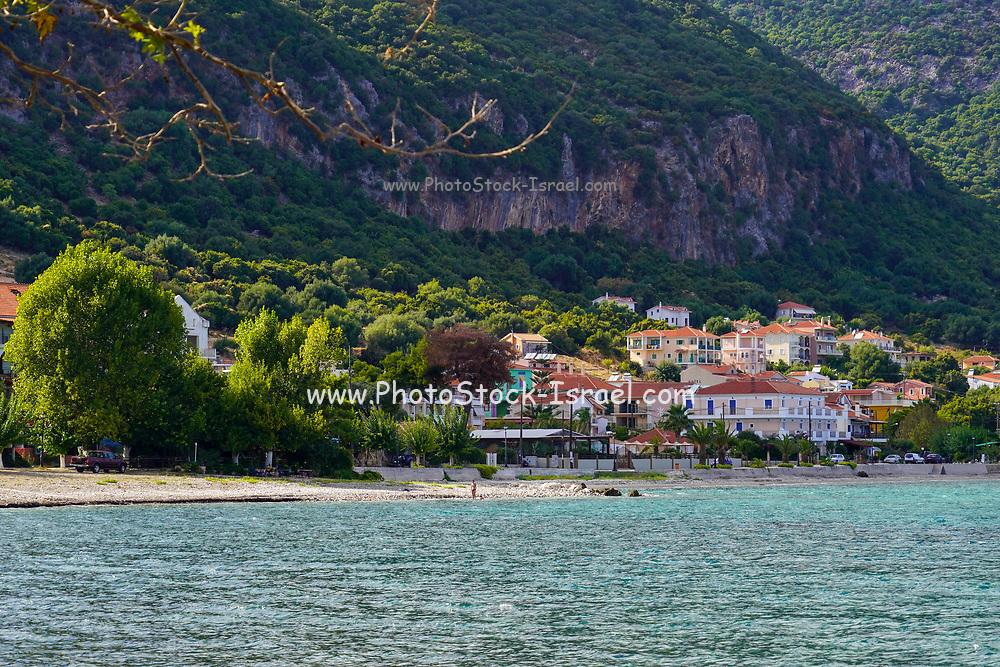 Mediterranean coast and sea as seen from the Greek Island of Cephalonia, Ionian Sea, Greece