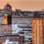West Bottoms at sunset in Kansas City, Missouri. View in background is Strawberry Hill neighborhood of Kansas City, Kansas.