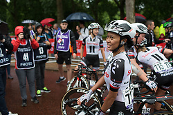 Race winner Coryn Rivera (USA) of Team Sunweb smiles after the Prudential Ride London Classique - a 66 km road race, starting and finishing in London on July 29, 2017, in London, United Kingdom. (Photo by Balint Hamvas/Velofocus.com)