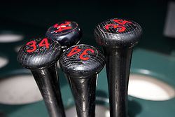 SAN FRANCISCO, CA - APRIL 26:  Detailed view of baseball bats in the dugout belonging to Zach McAllister #34 of the Cleveland Indians (not pictured) before the game against the San Francisco Giants at AT&T Park on April 26, 2014 in San Francisco, California. The San Francisco Giants defeated the Cleveland Indians 5-3.  (Photo by Jason O. Watson/Getty Images) *** Local Caption ***