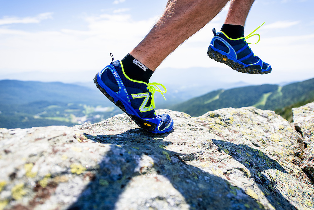 Close up of New Balance Trail Runners on Mount Mansfield