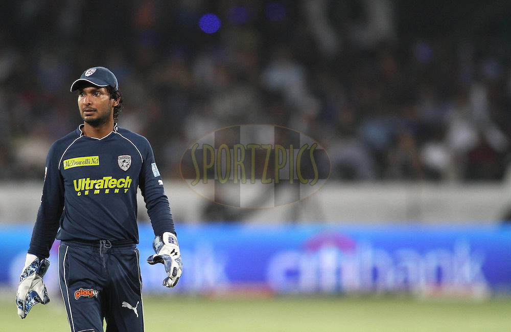 Captain Kumar Sangakkara of the Deccan Chargers during match 46 of the Indian Premier League ( IPL ) between the Deccan Chargers and the Delhi Daredevils held at the Rajiv Gandhi International Cricket Stadium in Hyderabad on the 5th May 2011..Photo by Shaun Roy/BCCI/SPORTZPICS