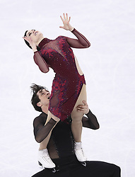 PYEONGCHANG, Feb. 12, 2018  Canada's Tessa Virtue (Top) and Scott Moir compete during the ice dance free dance of figure skating team event at the 2018 PyeongChang Winter Olympic Games, in Gangneung Ice Arena, South Korea, on Feb. 12, 2018. Team Canada won the gold medal of figure skating team event with 73 points in total. (Credit Image: © Han Yan/Xinhua via ZUMA Wire)