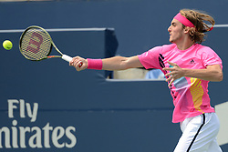 August 9, 2018 - Toronto, Ontario, Canada - STEFANOS TSITSIPAS of Greece in action in his third round match vs. N. Djokovic in the Rogers Cup tennis tournament in Toronto Canada. (Credit Image: © Christopher Levy via ZUMA Wire)