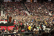 "The crowd at the Bernie rally in The Liacouras Arena in Philadelphia was having a good time with the man doing the mic testing. He was doing the ""1, 2, 3"" approach and the people started shouting ""4"" to the end each time he went through the count."