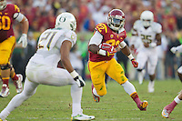 03 November 2012: Runningback (22) Curtis McNeal of the USC Trojans runs the ball against the Oregon Ducks during the first half of Oregon's  62-51victory over USC at the Los Angeles Memorial Coliseum in Los Angeles, CA.