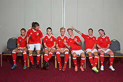 CARDIFF, WALES - Wednesday, April 6, 2016: Wales women's team squad 2016. Kayleigh Green, Loren Dykes, Angharad James, Sophie Ingle, Jessica Fishlock, Natasha Harding and Helen Ward. (Pic by Ian Cook/Propaganda)