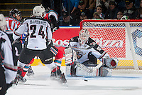 KELOWNA, CANADA - NOVEMBER 11: Daniel Wapple #35 of Vancouver Giants makes a save during second period on November 11, 2015 at Prospera Place in Kelowna, British Columbia, Canada.  (Photo by Marissa Baecker/Getty Images)  *** Local Caption *** Daniel Wapple;