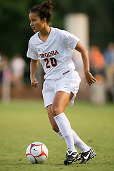 Virginia Cavaliers midfielder/forward Kika Toulouse (20) in action against Liberty.  The Virginia Cavaliers defeated the Liberty Flames 5-0 in women's soccer at Klockner Stadium on the Grounds of the University of Virginia in Charlottesville, VA on August 29, 2008.
