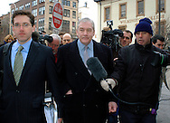 WILMINGTON, DE - FEBRUARY 20:  Lord Conrad Black (C) is surrounded by media as he arrives at the New Castle County Courthouse to testify in the lawsuit brought against him by Hollinger International February 20, 2004 in Wilmington, Delaware. In the case Black is pitted against his own board of directors. (Photo by William Thomas Cain/Getty Images)