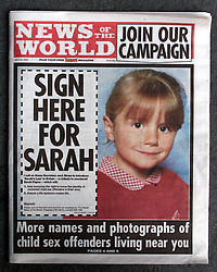 The NEWS OF THE WORLD naming Sex Offenders, July 30, 2000. Photo by Andrew Parsons/i-Images.