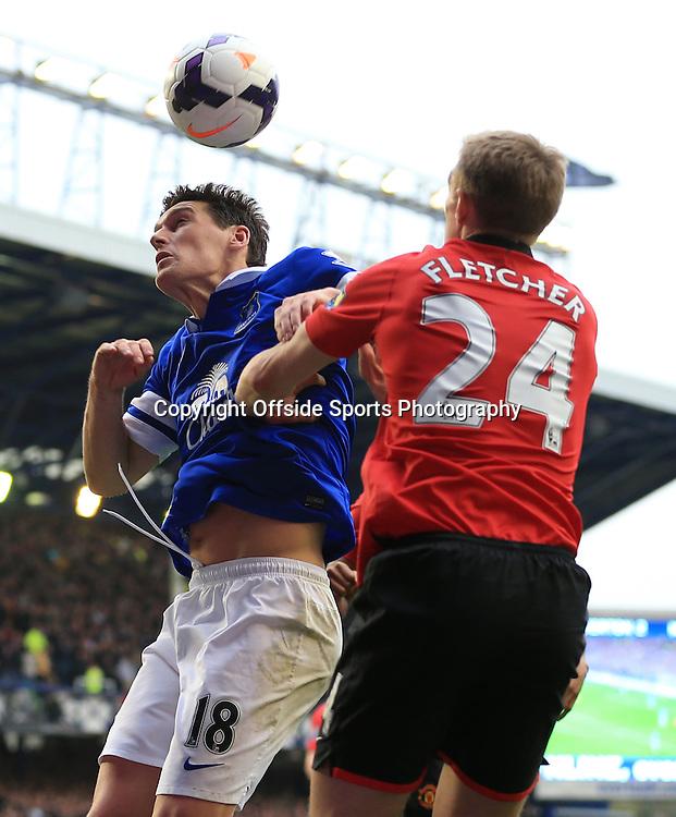 20th April 2014 - Barclays Premier League - Everton v Manchester United - Gareth Barry of Everton battles with Darren Fletcher of Man Utd - Photo: Simon Stacpoole / Offside.