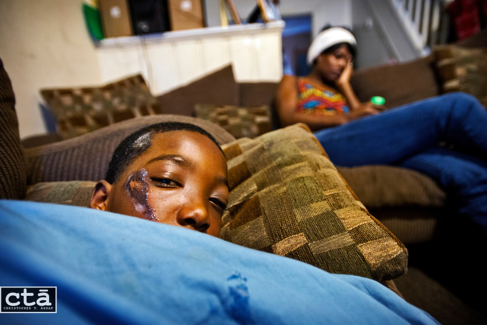 Tyrek Hodge, 11, was trying to attend the Ravens' Super Bowl celebration at M&T Bank Stadium with his mother, Tiffany, when the two got caught up in a stampede outside the stadium and the boy was seriously injured. Tyrek, a Ray Rice fan, suffered a concussion, an injury to his and eye and several lacerations.