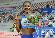 Dina Asher-Smith (GBR) poses after winning  the women's 200m in 22.26 during the IAAF Doha Diamond League 2019 at Khalifa International Stadium, Friday, May 3, 2019, in Doha, Qatar (Jiro Mochizuki/Image of Sport)
