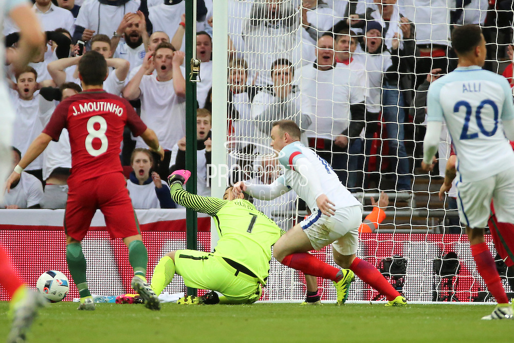 England forward, Wayne Rooney (10) missing a chance during the Friendly International match between England and Portugal at Wembley Stadium, London, England on 2 June 2016. Photo by Matthew Redman.