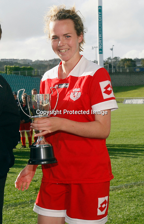 Rovers Olivia Chance wins the MVP award. Women's Knockout Cup Final, Three Kings United v Claudelands Rovers, North Harbour Stadium, Albany, Sunday 19th September 2010. Photo: Shane Wenzlick/PHOTOSPORT